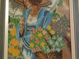 "Картина ""Девушка в шляпе"", вышита бисером"